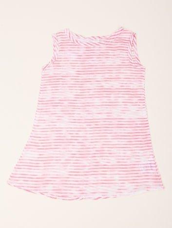 INCA Sukienka dziewczęca w drobne biało-różowe paseczki