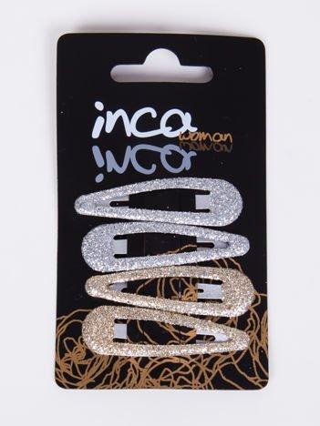 INCA Zestaw 4 szt spinek brokatowych srebrnych i złotych