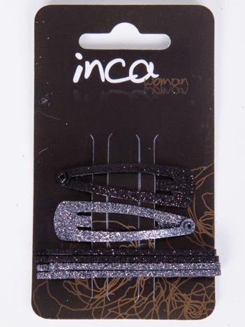 INCA Zestaw 6 szt. Spinki + wsuwki w odcieniach koloru czarnego z brokatem