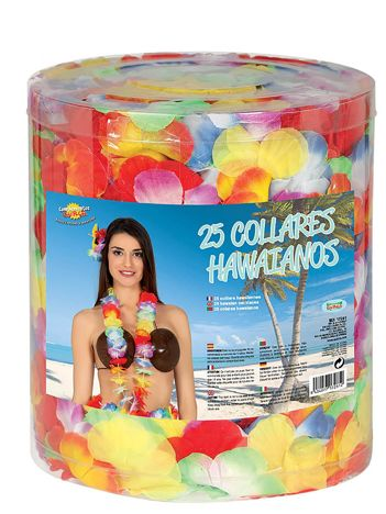 Imprezowy zestaw hawajskich naszyjników z kwiatów 25 sztuk