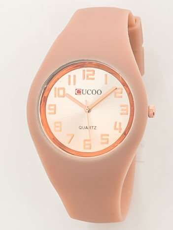 JELLY Zegarek damski na silikonowym wygodnym pasku beżowy
