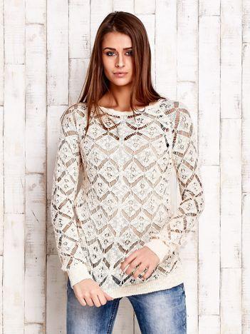 JUST LOU Ażurowy sweter ecru