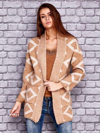 JUST LOU Otwarty sweter w romby jasnobrązowy