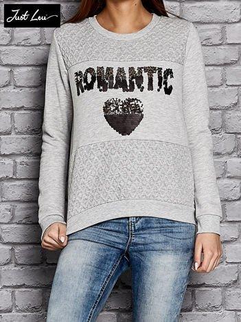 JUST LOU Szara bluza z cekinowym napisem ROMANTIC