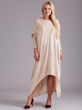 Jasnobeżowa asymetryczna sukienka z aplikacją PLUS SIZE