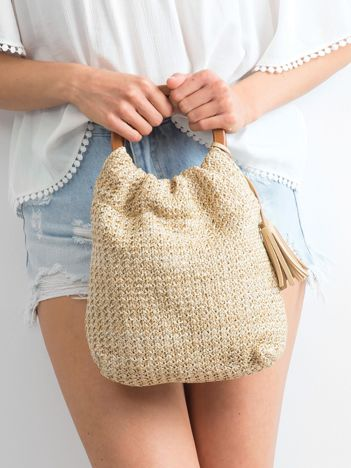 Jasnobeżowa mała torebka pleciona do ręki