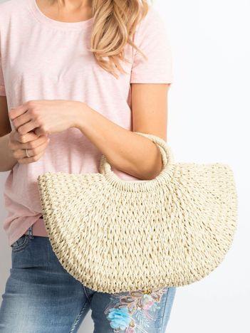 Jasnobeżowa pleciona torba do ręki