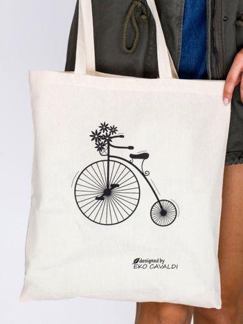 Jasnobeżowa torba bawełniana z retro nadrukiem bicykla