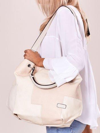 Jasnobeżowa torba shopper z geometrycznymi modułami
