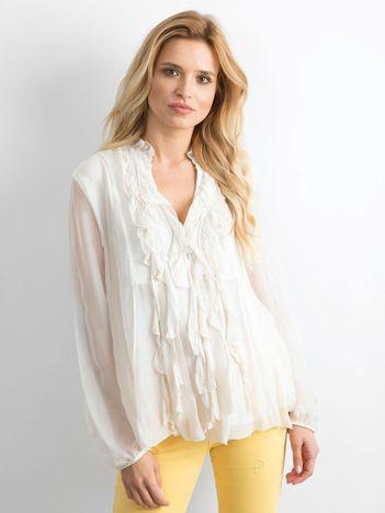 Jasnobeżowa zwiewna bluzka