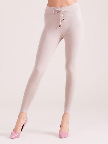 Jasnobeżowe sztruksowe legginsy