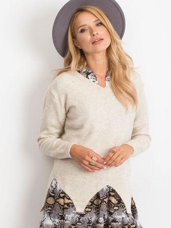Jasnobeżowy sweter Believe