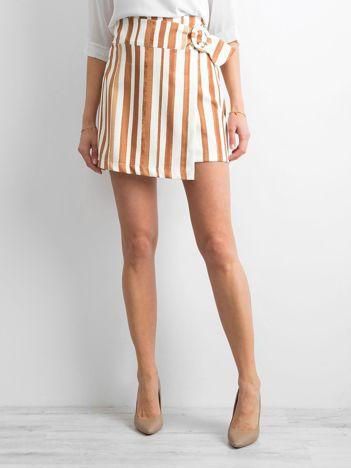 Jasnobrązowa spódnica w paski