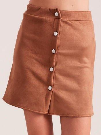 Jasnobrązowa spódnica z imitacji zamszu