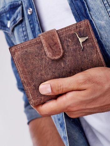 Jasnobrązowy portfel męski skórzany z przetarciami
