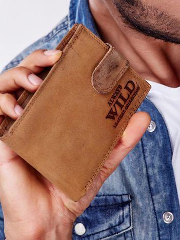 Jasnobrązowy portfel męski ze skóry naturalnej