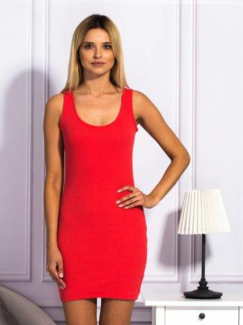 Jasnoczerwona prążkowana sukienka