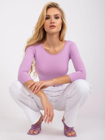 Jasnofioletowa bawełniana bluzka basic