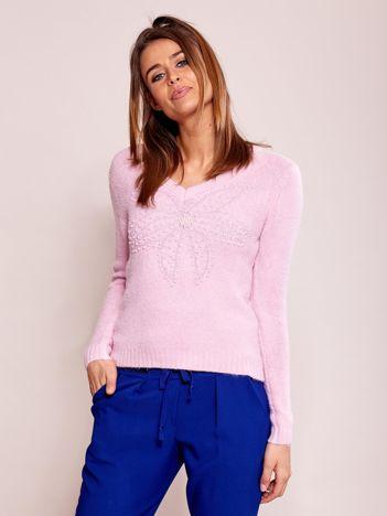 Jasnofioletowy sweter z koralikami