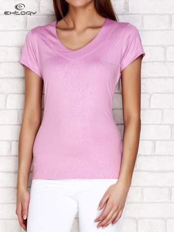 Jasnofioletowy t-shirt o tłoczonej fakturze PLUS SIZE