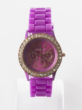 Jasnofioletowy zegarek z silikonowym paskiem