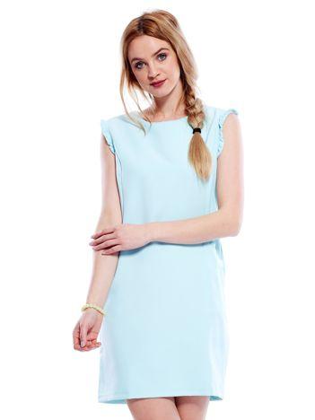 Jasnomiętowa sukienka z drobnymi falbankami