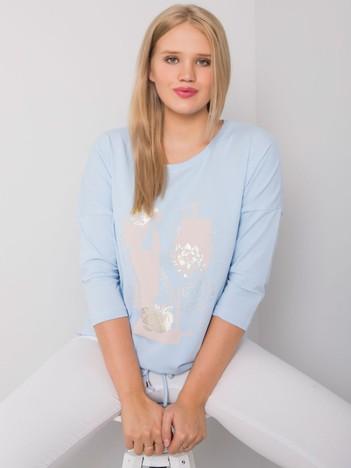 Jasnoniebieska bluzka plus size z printem Ilida