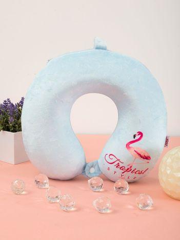 Jasnoniebieska poduszka podróżna z flamingiem