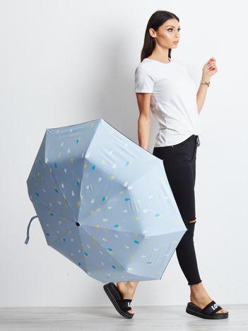 Jasnoniebieska składana parasolka z nadrukiem