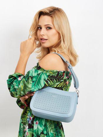 Jasnoniebieska torebka z ażurową kieszenią