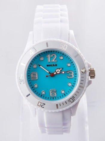 Jasnoniebieski silikonowy zegarek damski