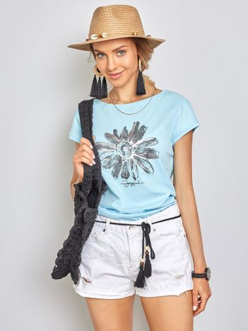 Jasnoniebieski t-shirt Floral