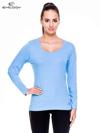 Jasnoniebieskie bluzka sportowa z dekoltem U
