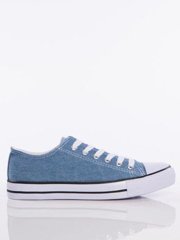 Jasnoniebieskie denim jeansowe trampki na białej podeszwie