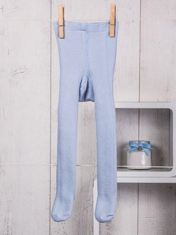 Jasnoniebieskie ocieplane bawełniane rajstopy niemowlęce dla chłopca lub dziewczynki