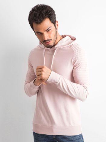 Jasnoróżowa bawełniana bluza męska