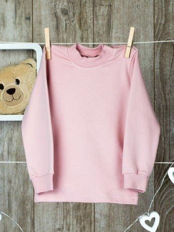 Jasnoróżowa  bawełniana klasyczna bluzeczka niemowlęca z półgolfem  dla  dziewczynki