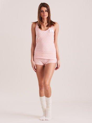 Jasnoróżowa bawełniana piżama w grochy