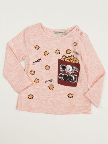 Jasnoróżowa bluzka dla dziewczynki z cekinami i perełkami