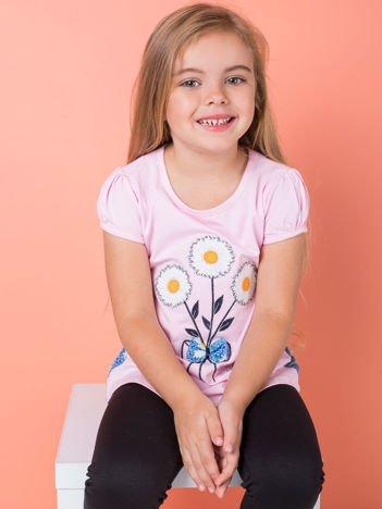 Jasnoróżowa bluzka dziewczęca w stokrotki
