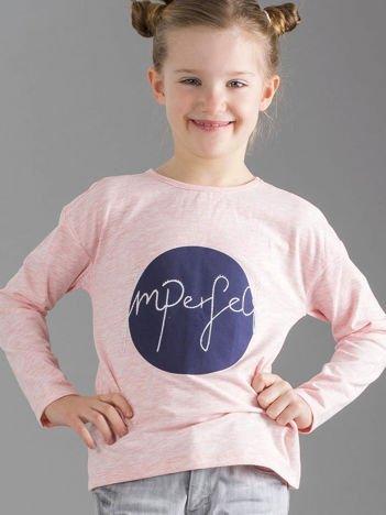 Jasnoróżowa bluzka dziewczęca z nadrukiem