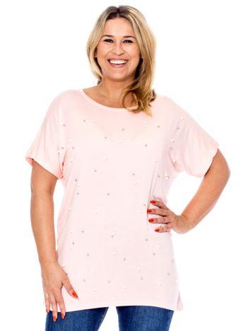 Jasnoróżowa bluzka z perełkami PLUS SIZE