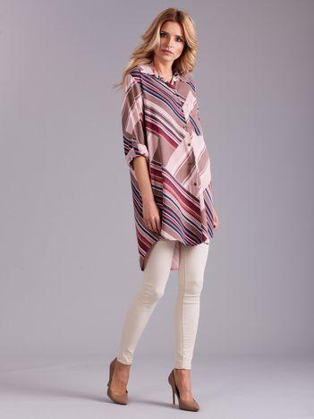 Jasnoróżowa długa koszula damska