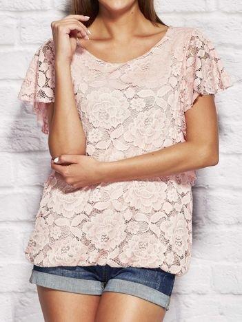 Jasnoróżowa koronkowa bluzka damska