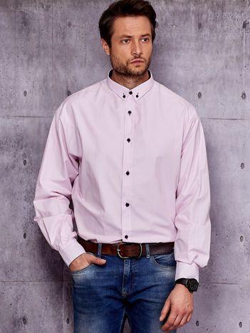 Jasnoróżowa koszula męska w drobne paski PLUS SIZE