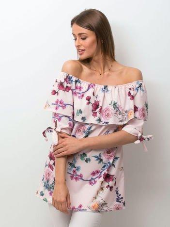 Jasnoróżowa kwiatowa bluzka hiszpanka