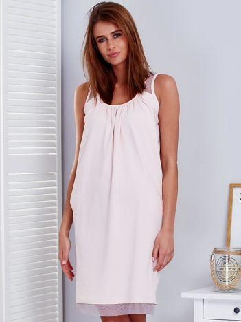 Jasnoróżowa sukienka z siatkowymi wstawkami