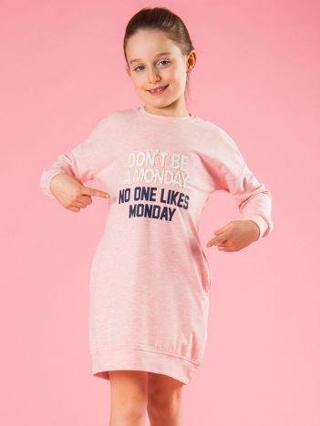Jasnoróżowa tunika dziewczęca z napisem