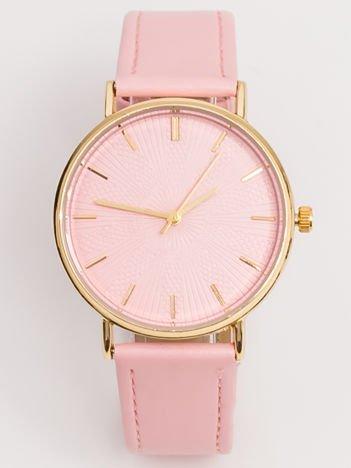 Jasnoróżowy Zegarek Damski Z Wytłaczaną Tarczą