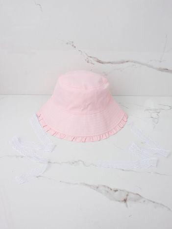 Jasnoróżowy kapelusz przeciwsłoneczny dziewczęcy